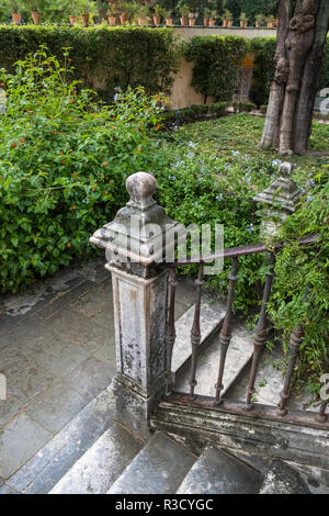 Section of interior gardens at Real Alcazar, a UNESCO World Heritage Site, Seville, Andalucia, Spain - Stock Photo