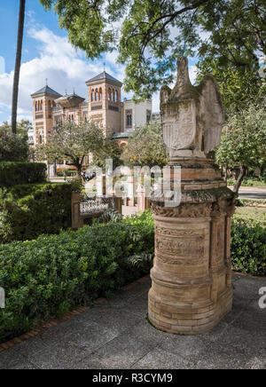 María Luisa Park, with Museum of Arts and Popular Customs of Seville in the background, Plaza de America, Seville, Andalucia, Spain - Stock Photo