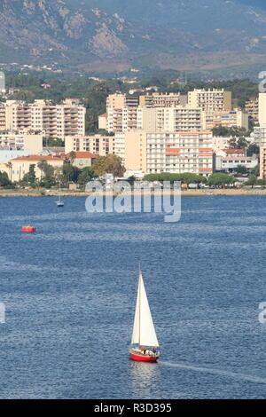 sail boat in Ajaccio, Corsica - Stock Photo