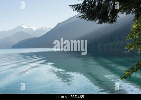 Shafts of morning light through trees. Boat wake adds texture to calm Baker Lake. Mt. Shuksan - Stock Photo