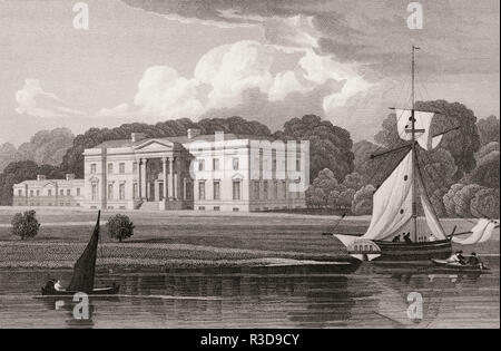 Blythswood House was a neoclassical mansion at Renfrew, 19th century, from Modern Athens by Th. H. Shepherd - Stock Photo
