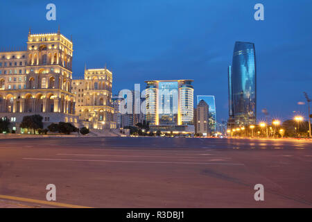 Azerbaijan, Baku at night Azadlig Square in front of the Government House evening side. Platitude Freedom - Azadlig located on the shores of the Caspian Sea.Hotel Absheron Marriott . Neftchiler Avenue - Stock Photo