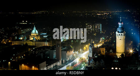 aerial view leipzig downtown by night - Stock Photo