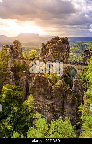 Panorama view on the Bastei bridge. Bastei is famous for the beautiful rock formation in Saxon Switzerland National Park, near Dresden and Rathen - Ge - Stock Photo