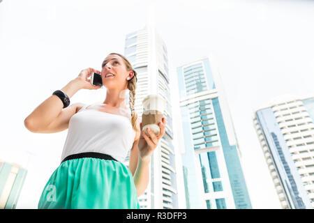 woman in city dubai - Stock Photo