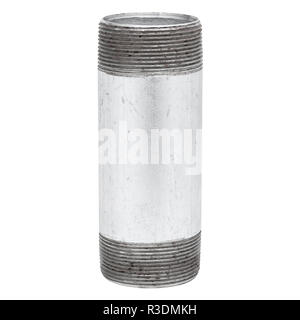Isolated Metal Tube with Thread on White Background - Stock Photo