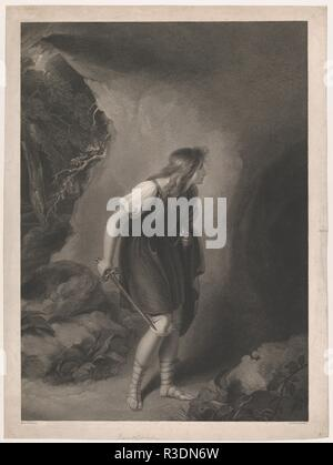 Imogen (Shakespeare, Cymbeline, Act 3, Scene 6). Artist: After Richard Westall (British, Reepham, Norfolk 1765-1836 London). Dimensions: Image: 22 5/16 in. × 16 in. (56.7 × 40.7 cm)  Sheet: 24 5/16 × 18 1/16 in. (61.8 × 45.8 cm). Engraver: Thomas Gaugain (British, London 1756-ca. 1810 London). Publisher: John & Josiah Boydell (British, 1786-1804). Series/Portfolio: Boydell's Shakespeare Gallery. Subject: William Shakespeare (British, Stratford-upon-Avon 1564-1616 Stratford-upon-Avon). Date: 1803.  In a subject from one of Shakespeare's late plays the British princess Imogen has disguished hers - Stock Photo