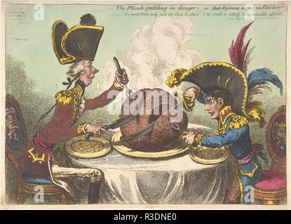 The Plumb-Pudding in Danger;-or-State Epicures Taking un Petit Souper. Artist: James Gillray (British, Chelsea 1756-1815 London). Dimensions: plate: 10 1/4 x 14 1/4 in. (26 x 36.2 cm)  sheet: 10 3/8 x 14 7/16 in. (26.4 x 36.6 cm). Publisher: Hannah Humphrey (London). Date: February 26, 1805.  Napoleon Bonaparte, declared emperor of France in 1804, and the English statesman William Pitt sit across a dining table, each carving out a piece from a plum pudding in the shape of the world. The diminutive Napoleon, rising from his seat in order to reach the table, hungrily takes Europe while Pitt carv - Stock Photo