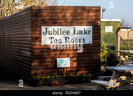 SWINDON, UK - NOVEMBER 18, 2018: Jubilee Lake Tea Room Royal Wootton Bassett in Wiltshire - Stock Photo