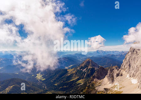dachstein with clouds - Stock Photo