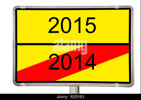 road sign 2014 2015 - Stock Photo