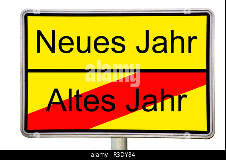 street sign new year old year - Stock Photo