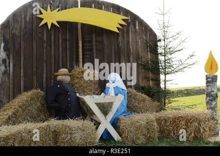 life-size nativity scene - Stock Photo