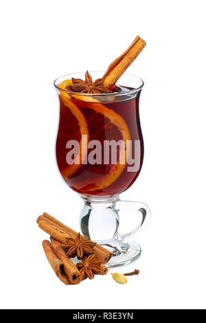 Mulled wine with orange slices and cinnamon on white Stock Photo