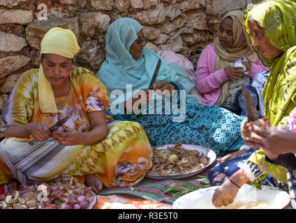 Harari women preparing food for a muslim celebration, Harari Region, Harar, Ethiopia - Stock Photo