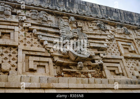 Details on the governors palace in the ancient Mayan ruins of Uxmal, Mexico - Stock Photo
