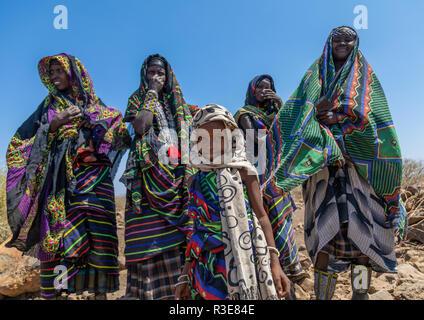 Portrait of an issa tribe family, Afar Region, Gewane, Ethiopia - Stock Photo