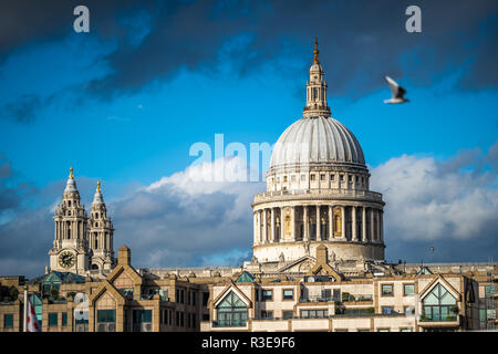 St. Paul's Cathedral, London, England against blue skies on sunny day
