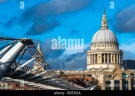 Scenic view of St Paul's cathedral with Millennium Bridge in foreground, London, UK