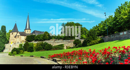 cathedral square in fulda with michael church in fulda - Stock Photo
