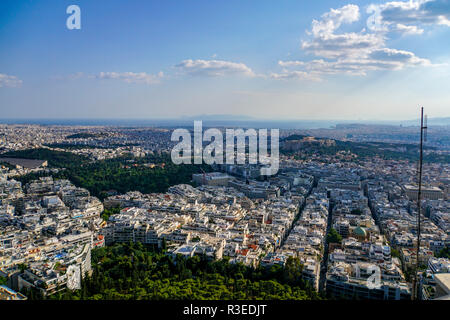 Greece, Athens, elevated view of the city as seen from  Lycabetous hill - Stock Photo