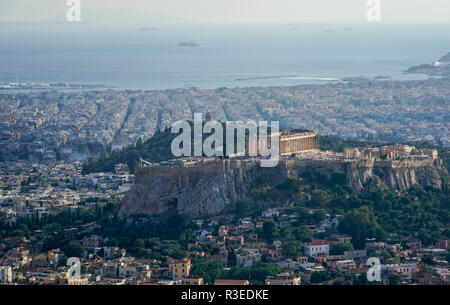 Greece, Athens, elevated view of the city as seen from Lycabetous hill. Acropolis Hill in the centre - Stock Photo