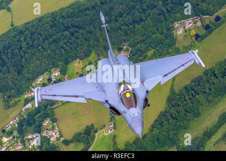 Dassault Rafale is a French twin-engine, canard delta wing, multirole fighter aircraft designed and built by Dassault Aviation. Equipped with a wide r - Stock Photo