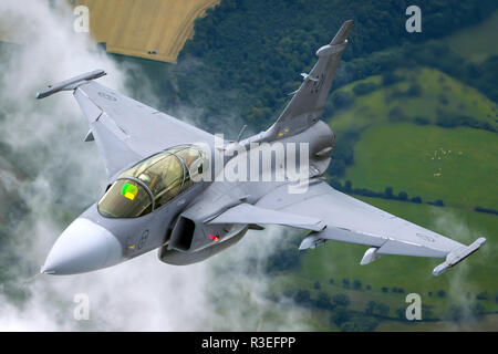 Swedish Air Force Saab JAS 39 Gripen a light single-engine multirole fighter aircraft manufactured by the Swedish aerospace company Saab. Photographed - Stock Photo