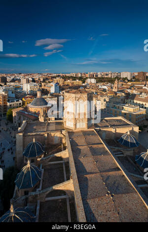 Beautiful sunset view over the roofs of Valencia oldtown from El Miguelete Tower, Spain - Stock Photo