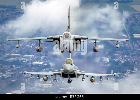 Royal Air force (RAF) Eurofighter Typhoon in flight. A twin-engine, canard-delta wing, multirole fighter. Photographed at Royal International Air Tatt - Stock Photo