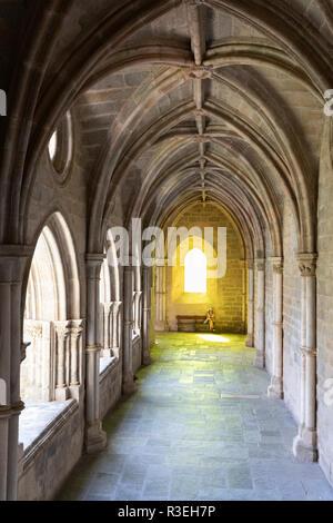 The Gothic cloister inside Evora's Se cathedral, Evora, Alentejo, Portugal, Europe - Stock Photo