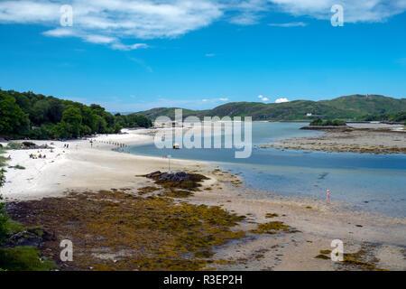 The white sands of Morar, near Mallaig, Scotland during a heatwave, July 2018. - Stock Photo