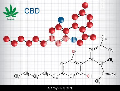 Cannabidiol (CBD) - structural chemical formula and molecule model. Active cannabinoid in cannabis, has antipsychotic effects. Sheet of paper in a cag - Stock Photo