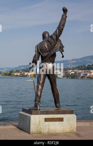 Bronze statue of Freddie Mercury, Quai de la Rouvenaz, Lake Geneva, Montreux, Vaud, Switzerland - Stock Photo