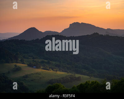 Trzy Korony Massif at Sunset. Pieniny Mountains in summer. View from Jarmutka Mount. - Stock Photo