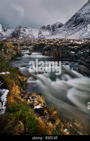 fairy pools on the isle of sky in winter - Stock Photo
