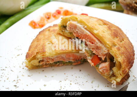 salmon in puff pastry - Stock Photo