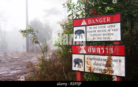 warning elephant danger / red sign set on walkway in the forest warning beware of elephant Wildlife danger - Stock Photo