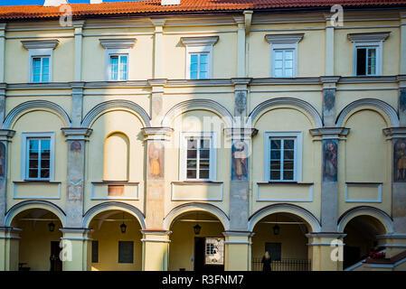 Facade detail in the Grand Courtyard of Vilnius University. Vilnius, Vilnius County, Lithuania, Baltic states, Europe. - Stock Photo