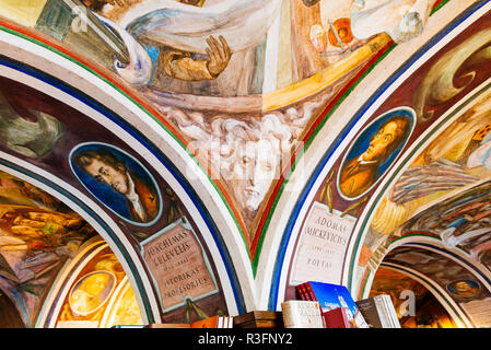 Beautiful Ceiling in Littera Bookstore - Vilnius University Bookstore. Vilnius, Vilnius County, Lithuania, Baltic states, Europe. - Stock Photo