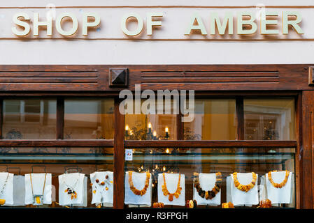Souvenir shop. Sale of baltic amber. The Baltic region is home to the largest known deposit of amber, called Baltic amber or succinite. Vilnius, Vilni - Stock Photo