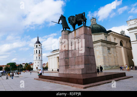 Cathedral Square with the bell tower and the monument to Grand Duke Gediminas. Vilnius, Vilnius County, Lithuania, Baltic states, Europe. - Stock Photo