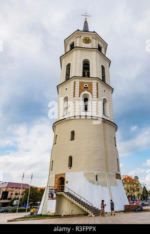 Bell tower of the cathedral. Cathedral Basilica of St Stanislaus and St Ladislaus of Vilnius is the main Roman Catholic Cathedral of Lithuania.Vilnius - Stock Photo