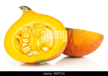Group of two halves of fresh red kuri pumpkin hokkaido variety with seeds isolated on white background - Stock Photo