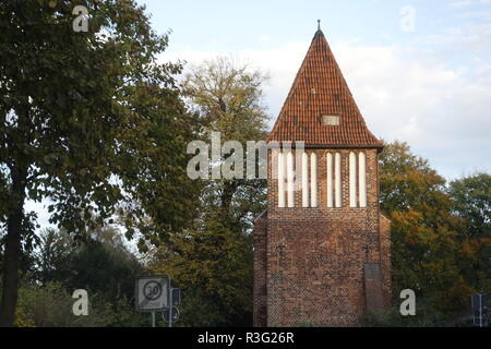 old water tower in wismar - Stock Photo