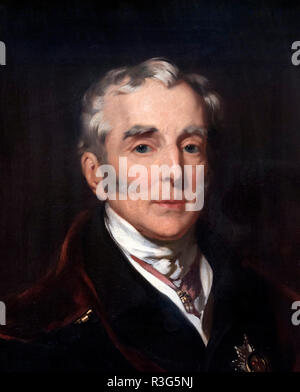 Duke of Wellington, portrait by John Lucas, oil on canvas, 1839. Detail from a larger painting, R3G5NA - Stock Photo
