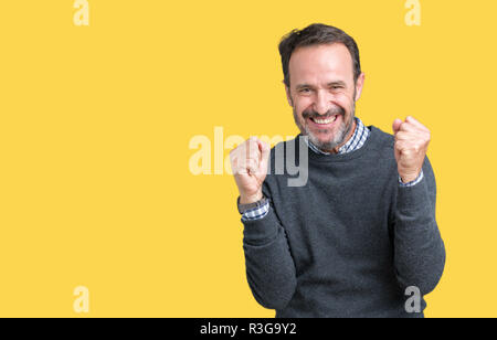 Handsome middle age senior man wearing a sweater over isolated background celebrating surprised and amazed for success with arms raised and open eyes.