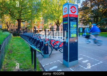 London, United Kingdom - May 14 2018: Santander Cycles known as Boris Bikes, after Boris Johnson, who was the Mayor of London - Stock Photo
