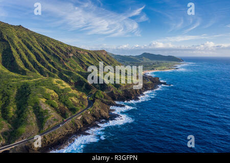 An aerial view of the Highway 72 along the east side of Oahu. - Stock Photo