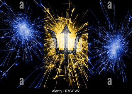 Barbados fireworks sparkling flag. New Year, Christmas and National day concept - Stock Photo